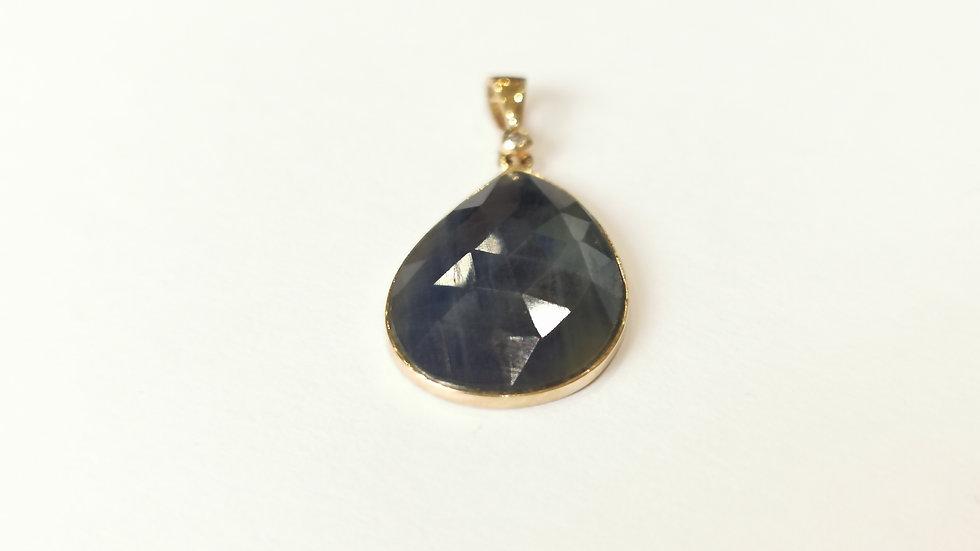 9ct White Gold Sapphire Slice  and Diamond Pendant