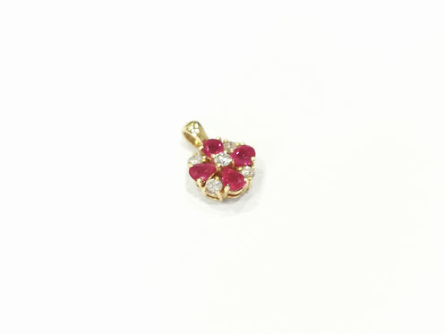 18ct Yellow Gold Ruby and Diamond Cluster Pendant