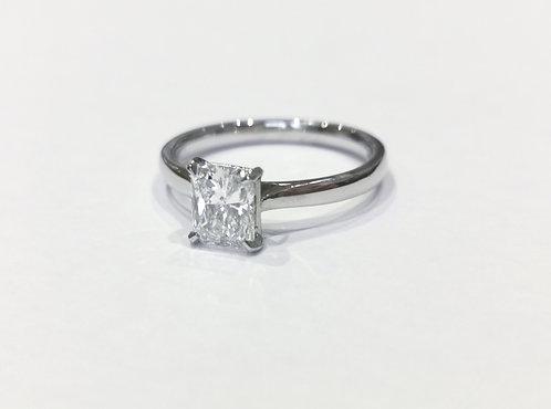 Platinum and Radiant Cut Diamond Ring
