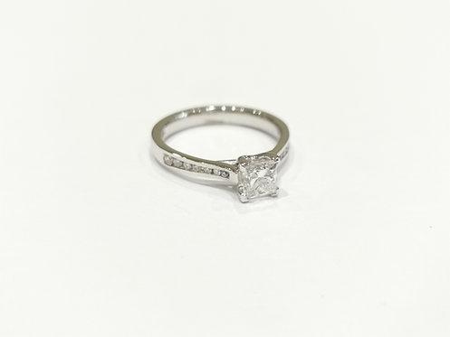 Platinum Princess Cut Diamond Solitaire with Diamond Set Shoulders