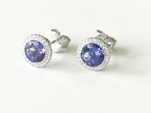 18ct White Gold Tanzanite and Dimaond Halo Stud Earrings