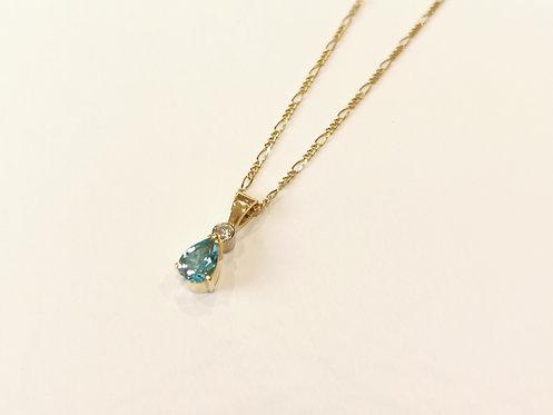 18ct Yellow Gold Topaz and Diamond Pendant on Figaro Chain