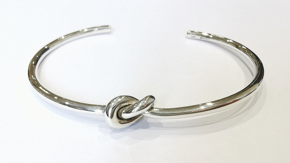 Silver Love Knot Torque Bangle