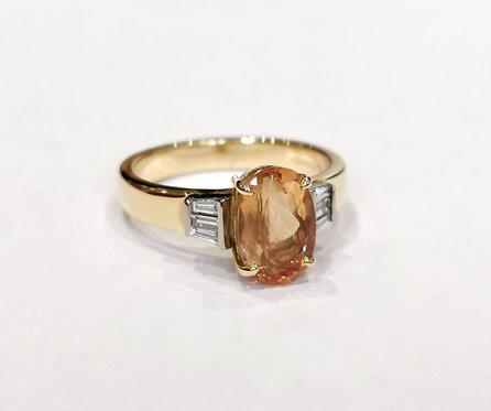 18ct Yellow Gold Imperial Topaz and Diamond Ring
