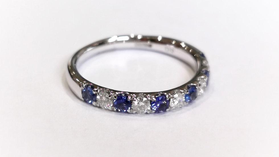 18ct White Gold Sapphire and Diamond Half Eternity Ring