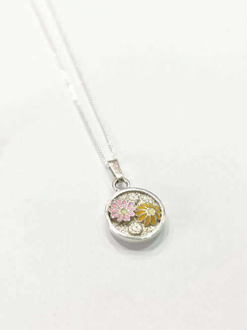 Silver and Enamel Flower Necklace