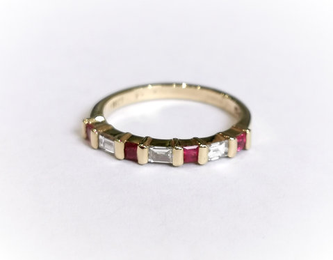 18ct Yellow Gold Princess Cut Ruby and Baguette Diamond Eternity Ring