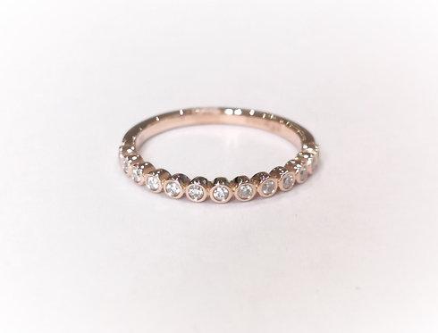 18ct Rose Gold Rubover Diamond Set Half Eternity Ring