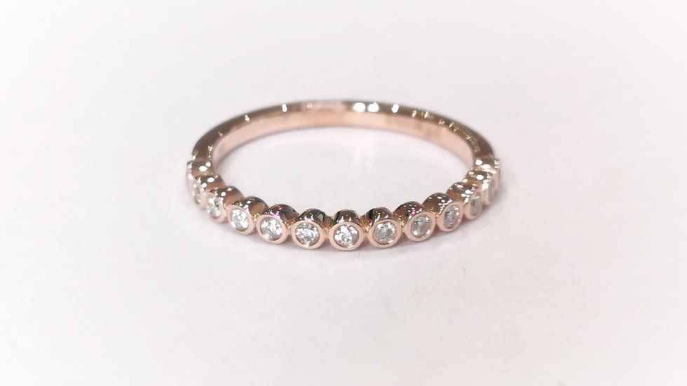 18ct Rose Gold Rubover Diamond Set Half Eternity Ring