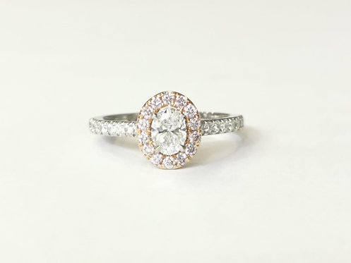 Platinum and 18ct Rose Gold Pink and White Diamond Halo Ring