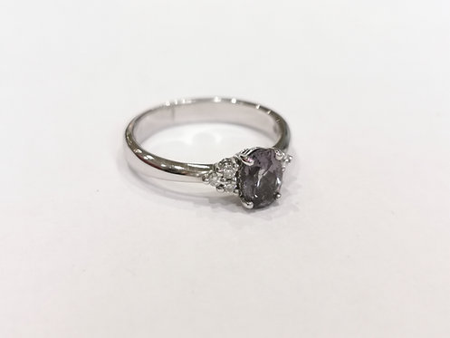 18ct White Gold Spinel and Diamond Ring
