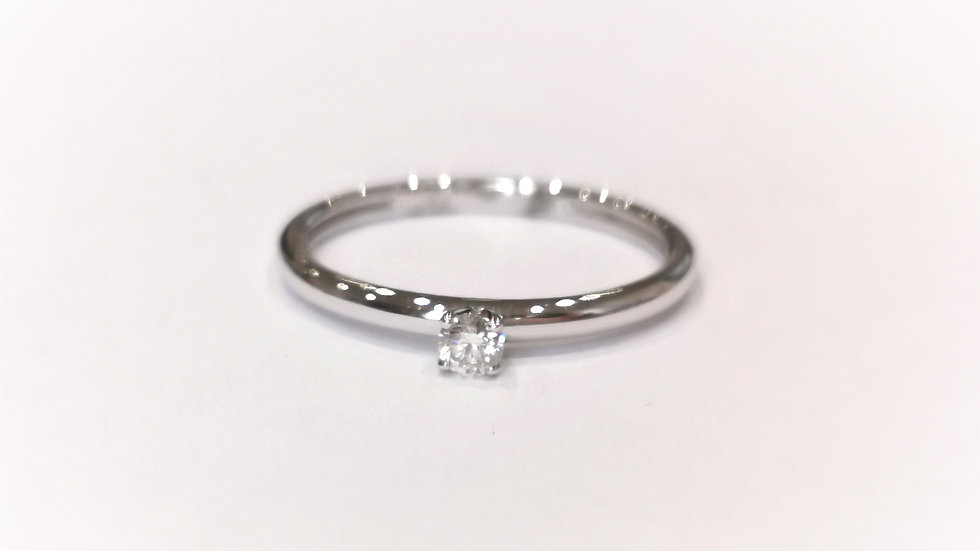 18ct White Gold Mini Diamond Solitaire Ring