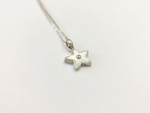 Sterling Silver, Mother of Pearl and Diamond Star Pendant on Chain