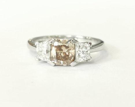 Platinum Chocolate Brown and White Diamond Ring