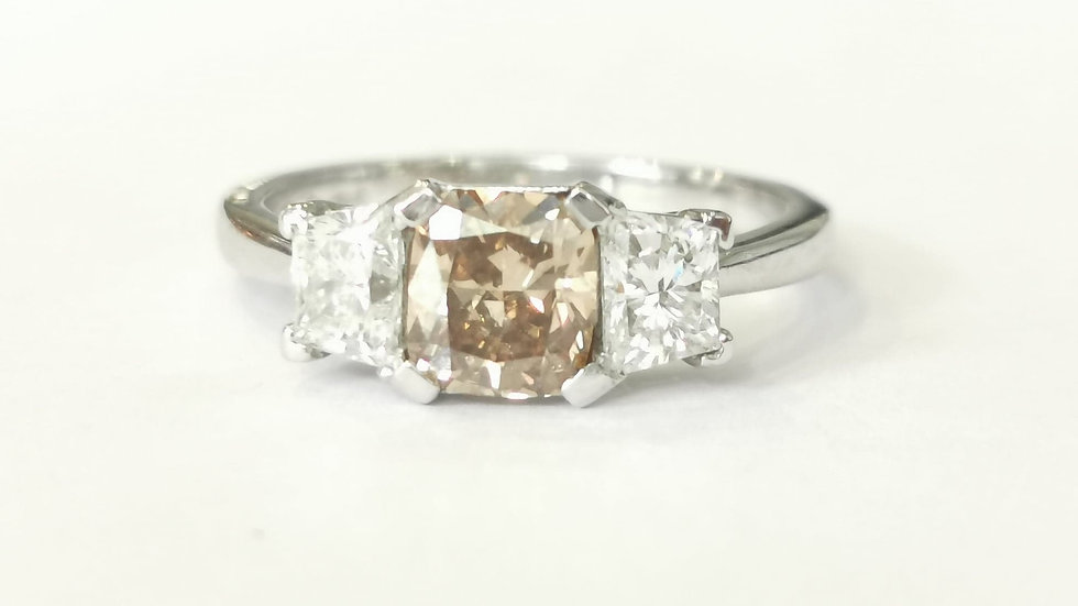 Platinum Chocolate Brown and White Diamond Ring