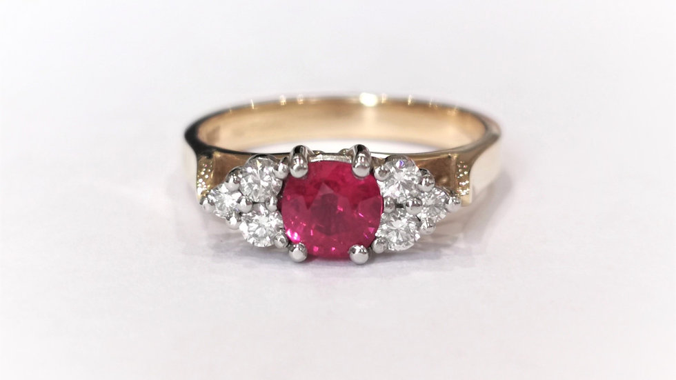 18ct Yellow Gold Ruby and Diamond Ring