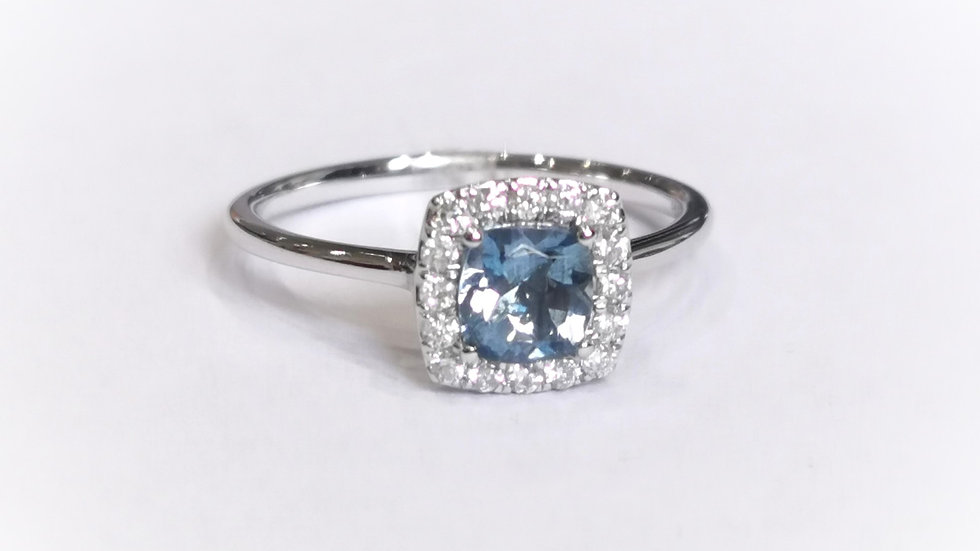 18ct White Gold Aquamarine and Diamond Halo Ring