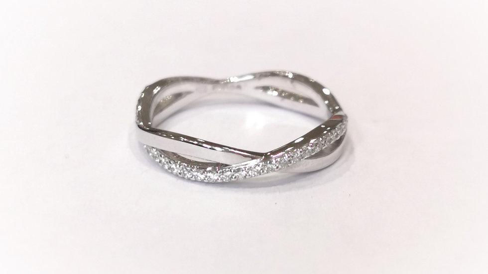 18ct White Gold Diamond Set Infinity Twist Ring