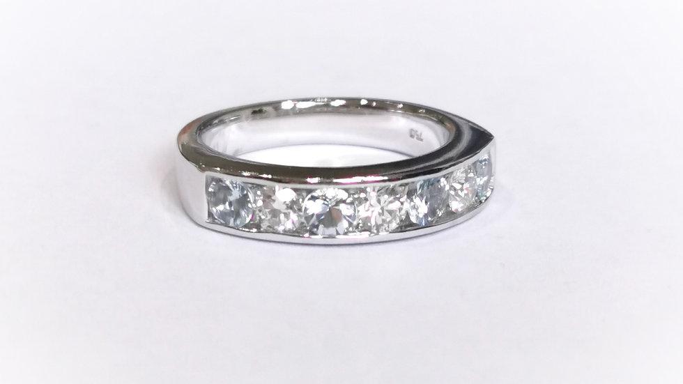 18ct White Gold Heavy Channel Set Aquamarine and Diamond Eternity Ring