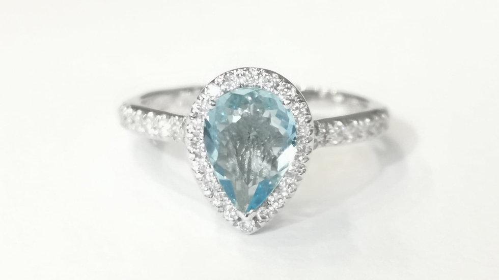 Platinum Aquamarine and Diamond Pear Cut Halo Ring