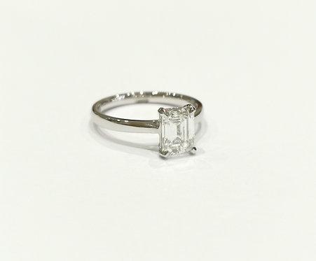 Platinum Emerald Cut Diamond Solitaire