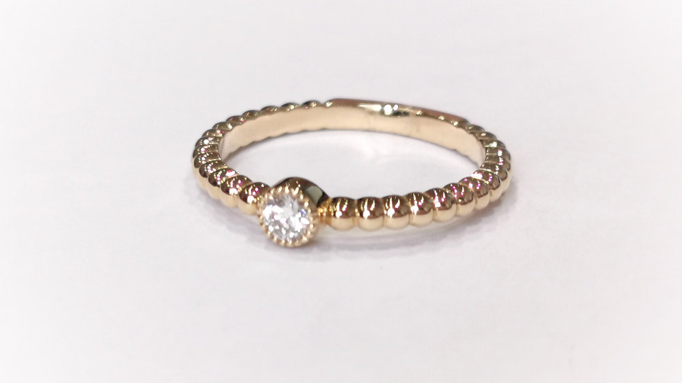 18ct Rose Gold Beaded Shank Diamond Solitaire Ring