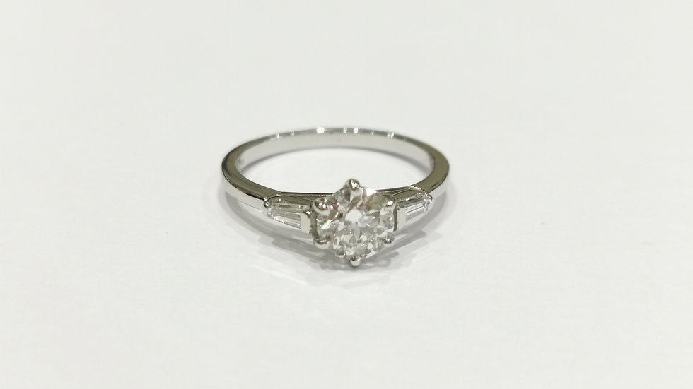 Platinum Diamond Ring with Tapered Baguette Diamond Shoulsers