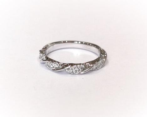 Platinum Diamond Set Twist Half Eternity Ring