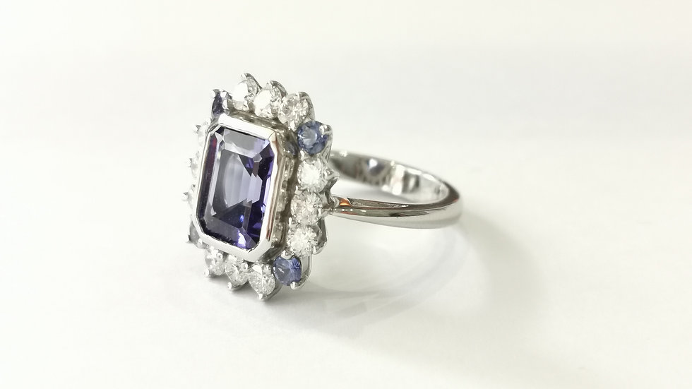Bespoke Rubover Tanzanite, with Diamond and Sapphire Cluster Ring