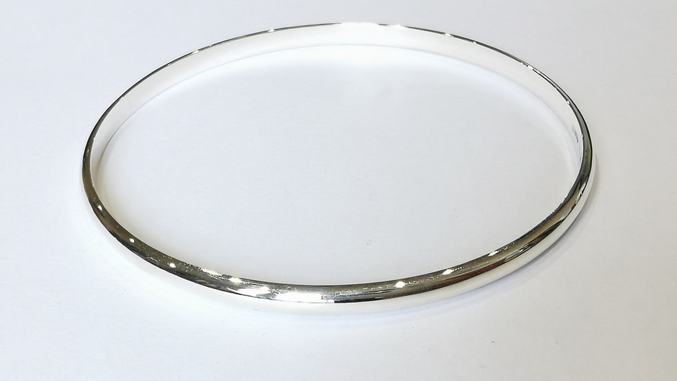Silver Solid D-Shape Slave Bangle