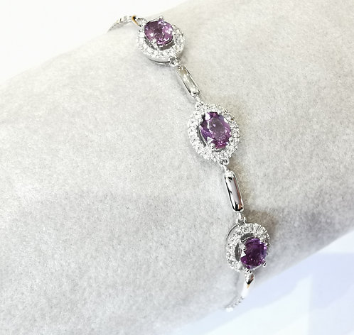 Silver Amethyst and cz Toggle Bracelet