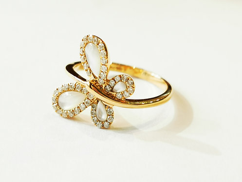 18ct Rose Gold Mother of Pearl and Diamond Butterfly Ring