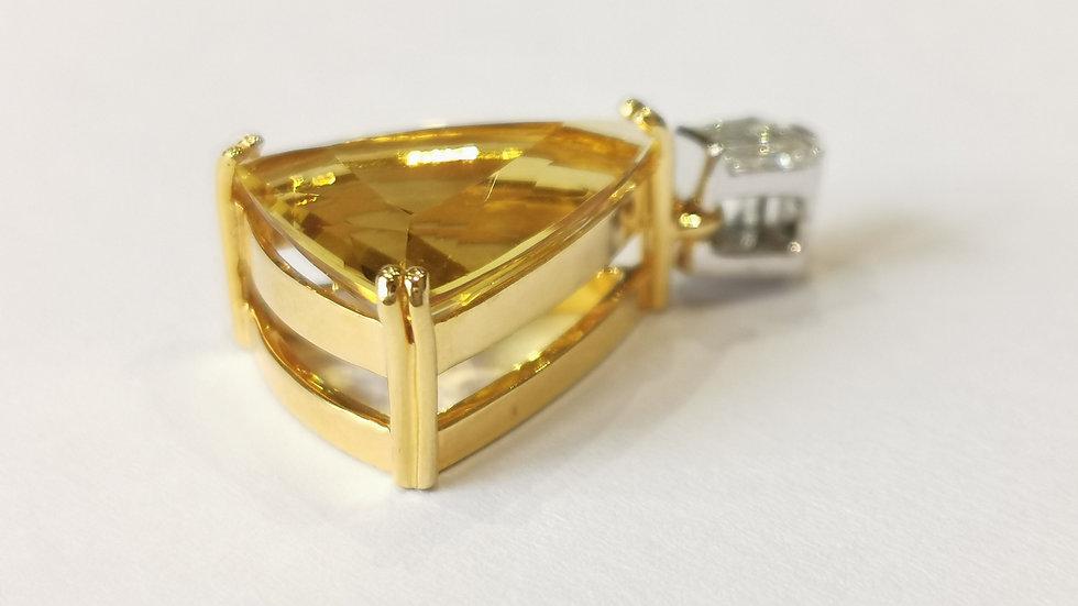 18ct Yellow and White Gold Beryl and Diamond Pendant