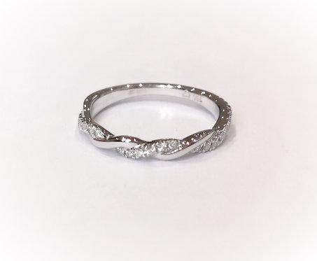 18ct White Gold Diamond set Twist Ring