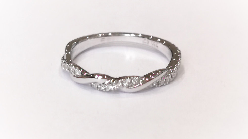 18ct White Gold Diamond set Twist Ring