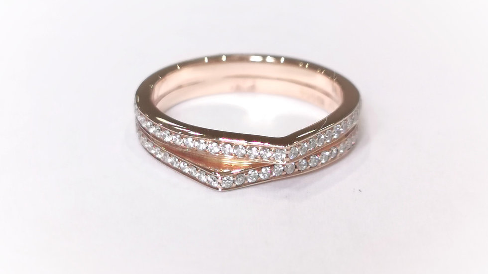 18ct Rose Gold Channel Set Diamond Angled Ring
