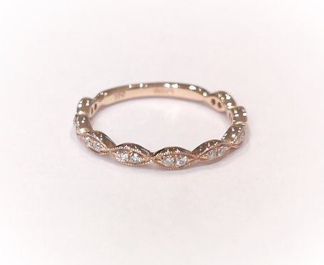 18ct Rose Gold Marquise Beaded Diamond Set Half Eternity Ring