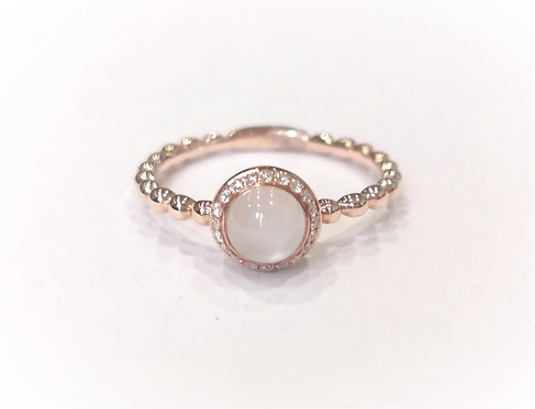 18ct Rose Gold Beaded Shank Moonstone and Diamond Solitaire Ring