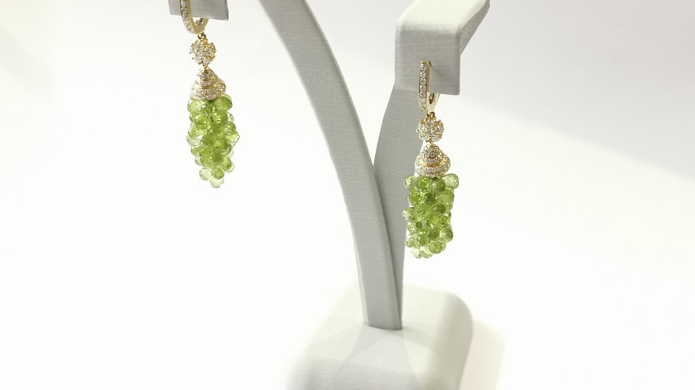 18ct Yellow Gold Peridot and Diamond Drop Earrings