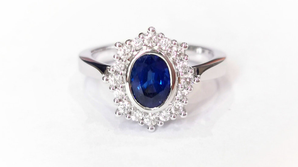 18ct White Gold Sapphire and Diamond Cluster Ring