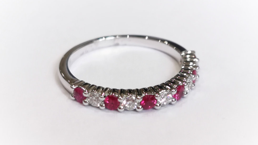 18ct White Gold Claw Set Ruby and Diamond Half Eternity Ring