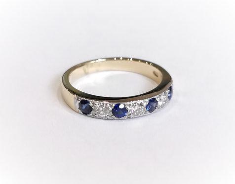 18ct Yellow Gold Sapphire and Diamond Half Eternity Ring