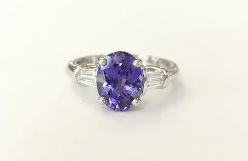 Platinum Tanzanite and Diamond Three Stone Ring