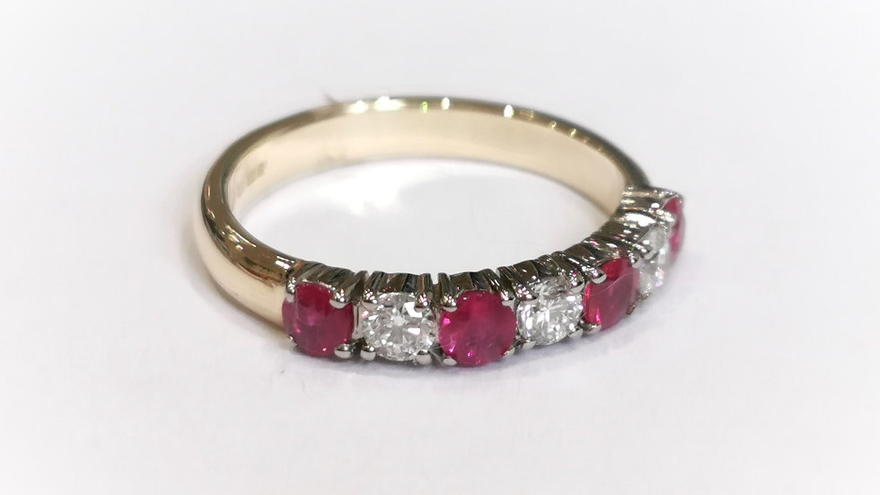 18ct Yellow Gold Claw Set Ruby and Diamond Half Eternity Ring