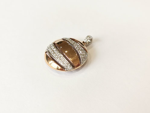 18ct Rose Gold and Diamond Round Cut-out Pendant