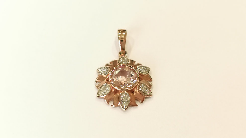 9ct Rose Gold Morganite and Diamond Pendant