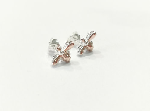 Sterling Silver and Rose Gold Plate Bumble Bee Earrings