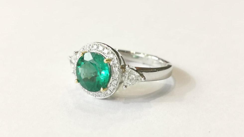 18ct White Gold Emerald and Diamond Dress Ring