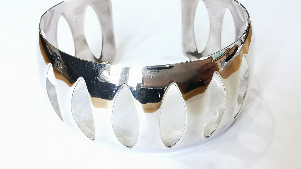 Silver Wide Cut-out Torque Bangle