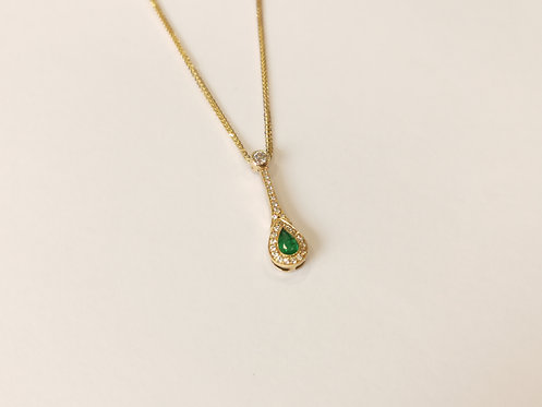 18ct Yellow Gold Emerald and Diamond Drop Pendant and Chain